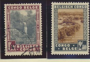 Belgian Congo Stamp Scott #166//171, Mint Hinged, 2 Used, 5 Different