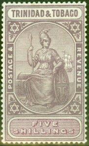 Trinidad & Tobago 1918 5s Dp Purple & Mauve SG155a Fine Lightly Mtd Mint