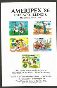 1986 Scouts Dominica AMERIPEX souvenir card Disney