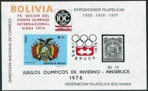 Bolivia C320a sheet.MNH.Michel Bl.47. Olympics Innsbruck-1976.Arms-eagle.