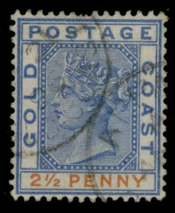 GOLD COAST QVI SG14, 2½d ultramarine and orange, FINE USED.