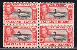 FALKLAND ISLANDS ISOLE 1938 BLACK NECKED SWAN KING GEORGE ROSE CARMINE 1d BLO...