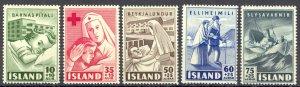 Iceland Sc# B7-B11 MH 1949 Semi-Postals