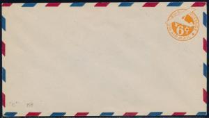 #UC4 6¢ ORANGE W/O BORDER TYPE 3 FIG.6 IS 5 1/2mm WIDE ENVELOPE SIZE 13 BQ8774