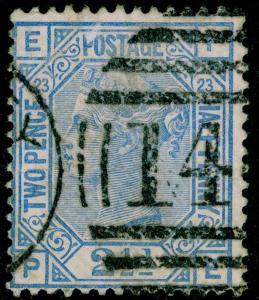 SG157, 2½d blue PLATE 23, USED. Cat £32. PE