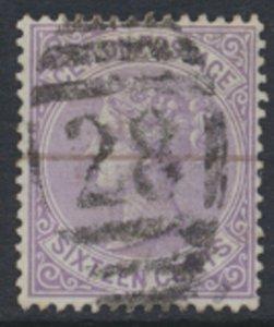 Ceylon  SG 126  Used  1872 QV 16c  SC# 67  28 cancel  See scan