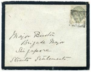 SG193 1885 5d Dull Green London to 'Brigade Major' Singapore c£350.00