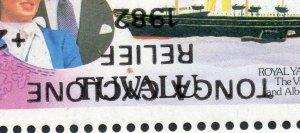 1982 Tuvalu Sg 188a Tonga Cyclone Secours Surimpression Inversé non Montés Mint