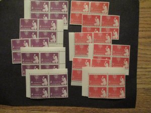 Australia 1957 Xmas Issues, S# 306 (24v) & 307 (20v) in blocks of 4v ea MNH MPH