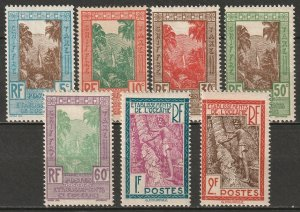 French Polynesia 1929 Sc J10-6 postage due partial set MH* some disturbed gum