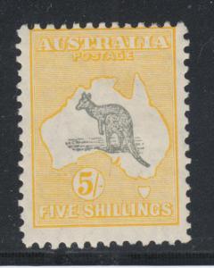 Australia Sc 100  MLH. 1929 5sh yellow & gray Kangaroo, fresh, LH