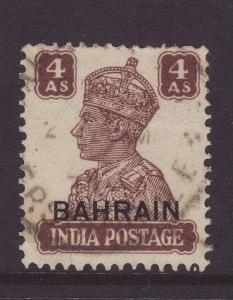 1942 Bahrain Opt on India 4 Annas F/Used SG47