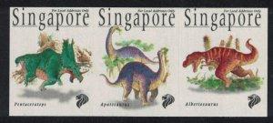 Singapore Dinosaurs Self-adhesive Imperf 3v Strip 1998 MNH SG#916-918