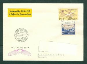 Switzerland.Flight Cover 1949.Spc. Flight St.Gallen-La Chaux-de-Fonds.Sc#C29+45.
