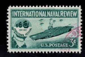 USA Scott 1091 used Aircraft Carrier stamp with Red cancel on various corners