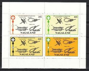 Nagaland, 1982 India Local. Scouting Anniversary sheet of 4.