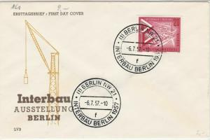 Berlin 1957 International Building Exhibition Crane FDC Stamps Cover Ref 24290
