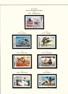 STATE OF UTAH HUNTING PERMIT STAMPS 1986-1997 MOUNTED ON 2 PAGES CV $271 BT6452