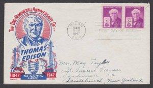 USA 1947 Edison FDC to New Zealand - Cachet Craft : Ken Boll................M115