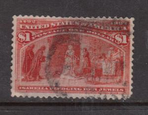 USA #241 Very Fine Used With Light Thin & Tiny PInhole On Back