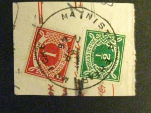 Ireland #J3/J6 used tied by cancel on small piece a198.9470