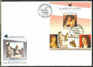 GUINEA 2014 ALBRECHT DURER  PAINTINGS SOUVENIR SHEET FIRST DAY COVER