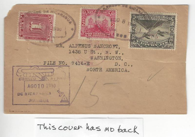 1930 Nicaragua To USA Early Airmail Cover - Missing Part Of Back (AF123)