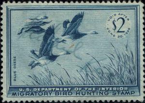 RW#22 1955 $2 BLUE GEESE DUCK STAMP USED--XF--LITE SIGNATURE