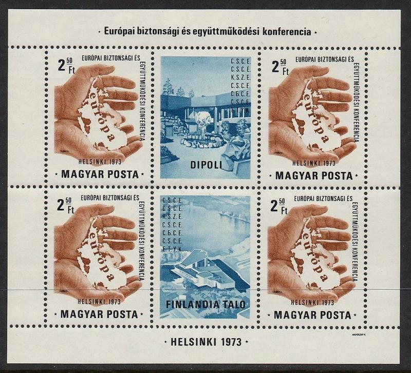 Hungary 1973 Map Helsinki Sheetlet VF MNH (2239a)