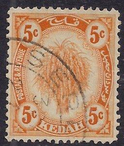 Kedah Malaysia 1922 – 40 KGV 5ct Yellow SG 55  ( L206 )