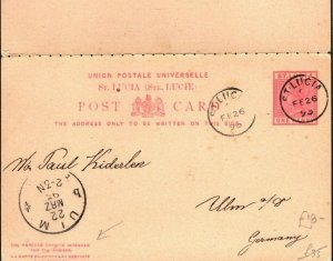 ST LUCIA QV Stationery Intact Reply Card Germany Ulm 1896 {samwells-covers}PB356
