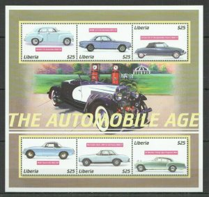 D1097 LIBERIA TRANSPORT HISTORY CARS THE AUTOMOBILE AGE 1KB MNH