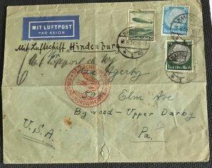 Hindenburg Flight Cover Hamburg Germany to PA US Used 6/18/193? L35