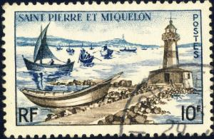 St-PIERRE-&-MIQUELON - 1957 - Yv.357/Mi.385 10fr Phare & doris - Oblitéré TB