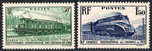 France 327-328, MNH. Electric Train, Streamlined Locomotive, 1937