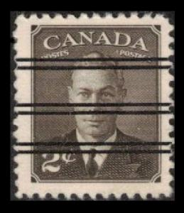 CANADA 1949 VINTAGE SCARCE 2c #285 (285xx) BROWN PRECANCEL VERY FINE (K354)
