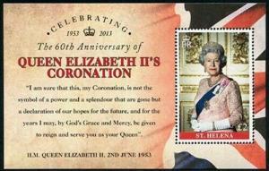 HERRICKSTAMP ST. HELENA Sc.# 1072 Queen Elizabeth II Coronation S/S