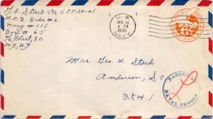 United States Fleet Post Office 6c Monoplane Air Envelope 1943 U.S. Navy Navy...