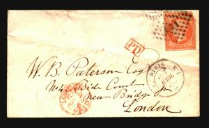 France 1861 Cover to London / Light Creasing - Z15701