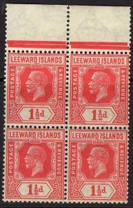 LEEWARD ISLANDS SG63 1926 1½d CARMINE MNH BLOCK OF 4