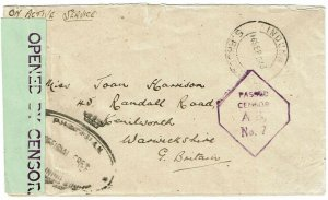Southern Rhodesia 1943 Induna cancel on military cover to England, censored