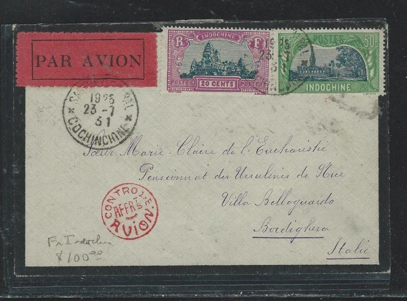 INDOCHINA  (P2908B) 1931 A/M  MOURNING COVER TO ITALY