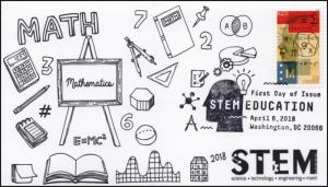 18-094, 2018, STEM Education, Pictorial Postmark, Math, FDC,
