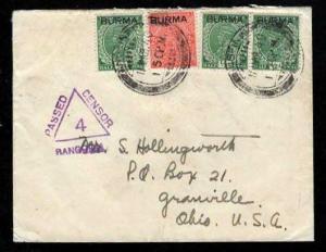 Burma WWII Missionary Mail 3/11/1940 WWII Rangoon- USA Censored Sc #2 x 3 & 5