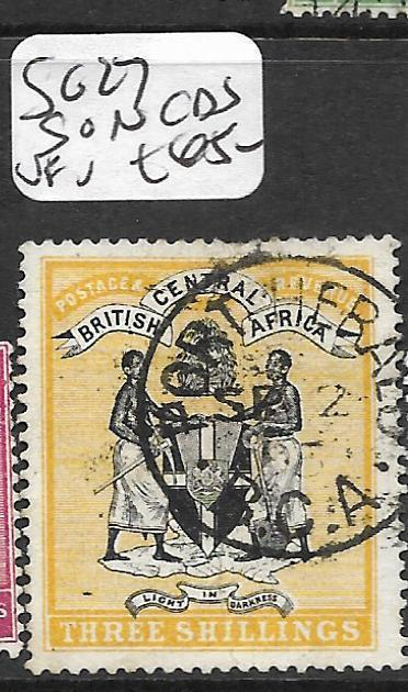 BRITISH CENTRAL AFRICA (P1109B) ARMS 3/-  SON SG27  VFU