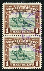 North Borneo Jap Occ SGJ18/9 1942 1c H/S in violet (Jesselton II) vertical PAIR