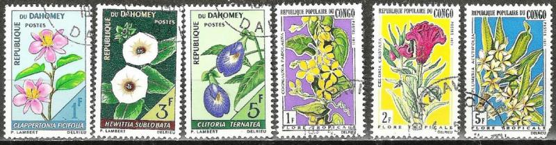 FRENCH WEST AFRICA 1967-71 TROPICAL FLOWERS Stamps Lot (TA2161831)