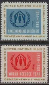 United Nations NY 1959 Sc 75-6 World Refugee Year Stamps MNH