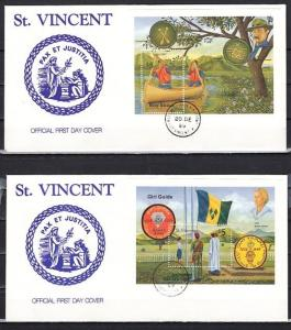 St. Vincent, Scott cat. 1286-1287. Scouting Anniv. s/sheets. 2 First day covers.