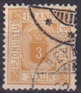Iceland #O10 F-VF Used CV $35.00 (Z6444)